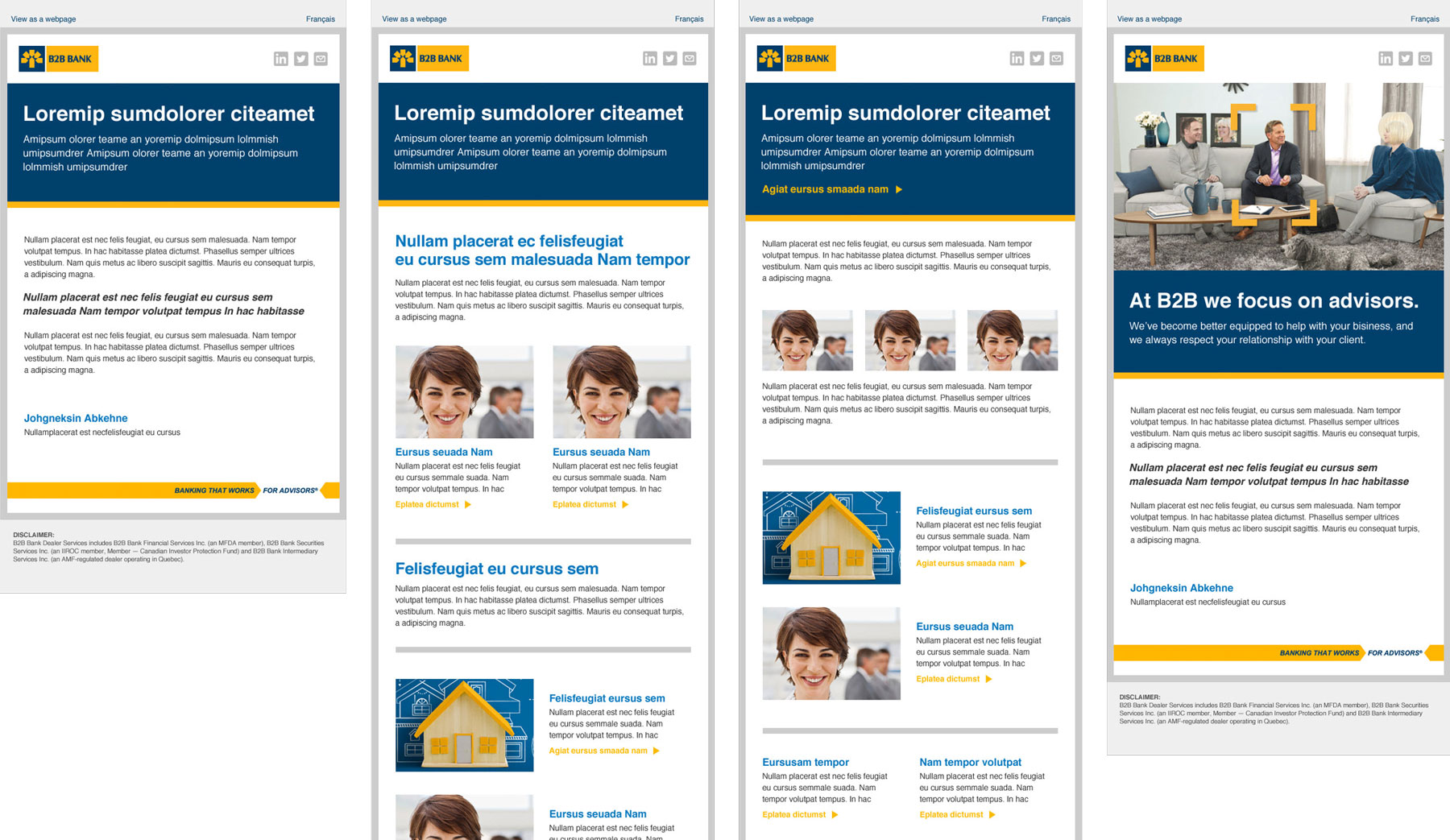 B2B Bank Email Templates