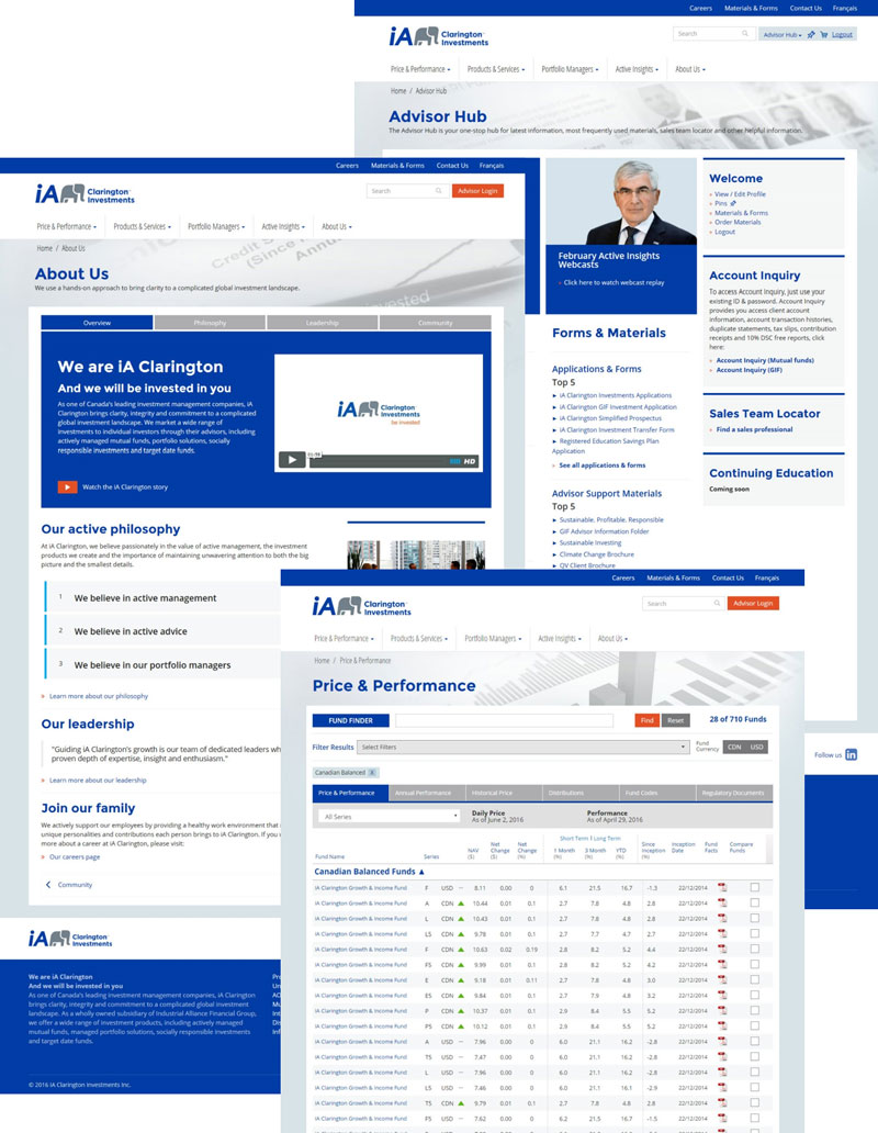 iA Clarington Investments Advisor / Investor Website Redesign