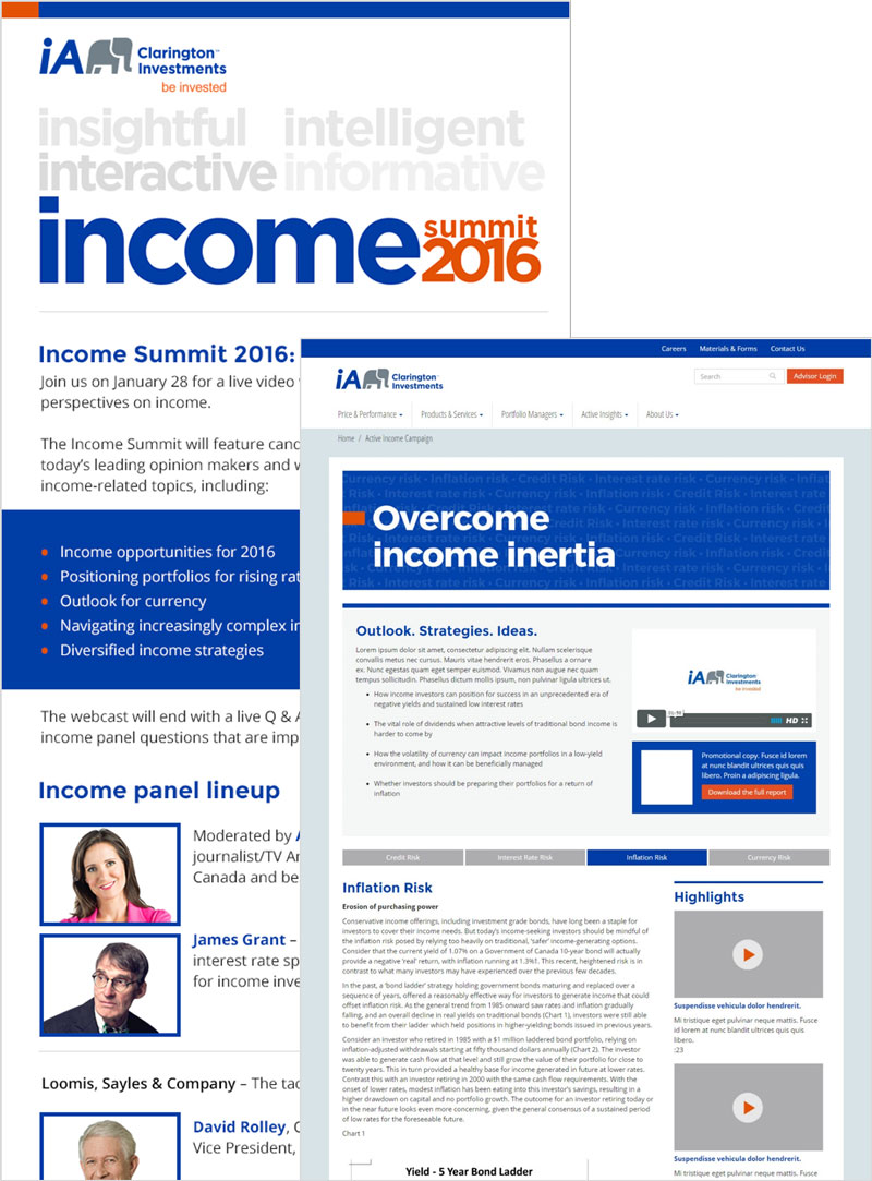 iA Clarington Investments Active Income Event Microsite + Landing Page