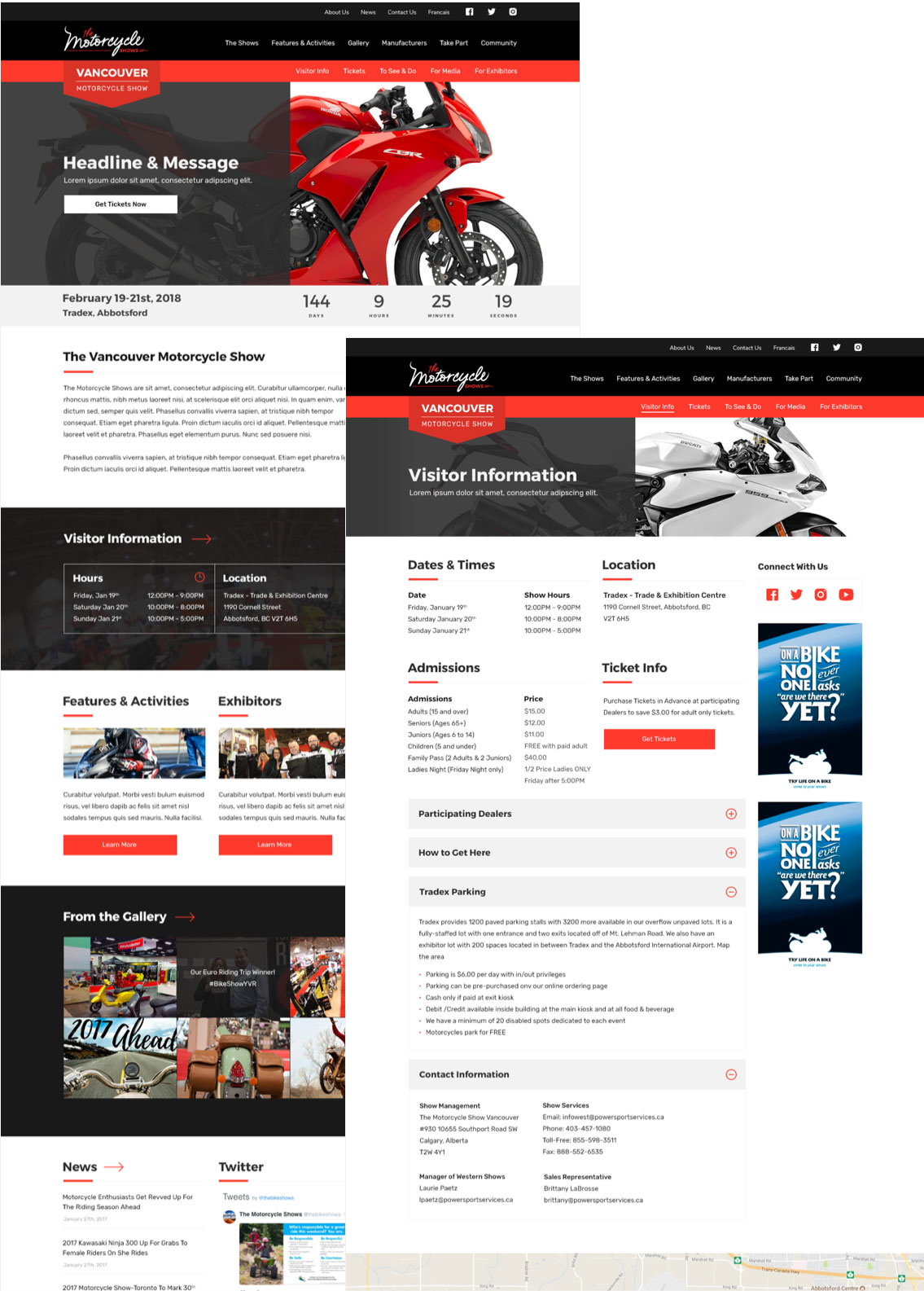 MotorcycleShows.ca Website Redesign